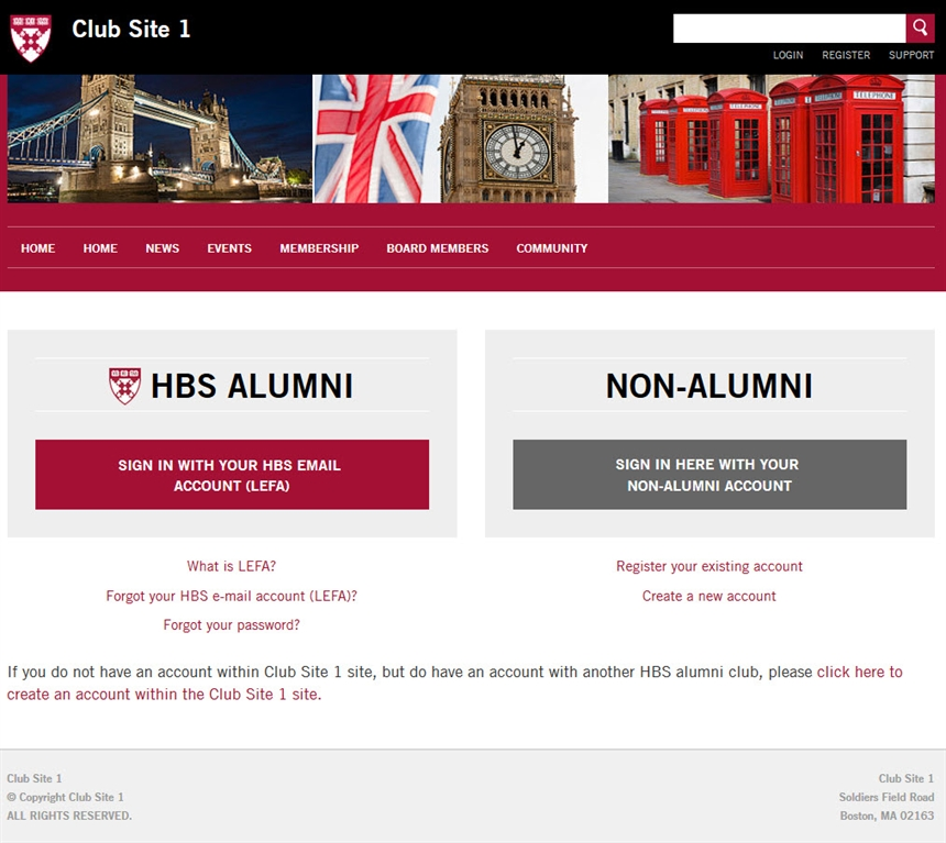 HBS Alumni Club Officers\' Portal - Non-HBS User Login